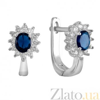 Серебряные сережки с синими фианитами Анкария SLX--СК2ФС/375