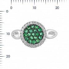 Кольцо из белого золота Динара с изумрудами и бриллиантами