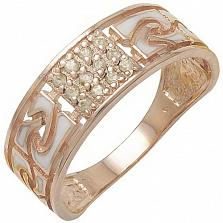 Золотое кольцо Роксет с хризолитом и эмалью