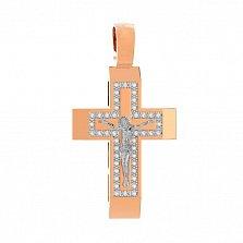 Золотой крестик Свет истины с фианитами