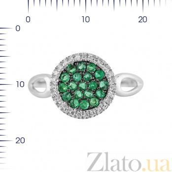 Кольцо из белого золота Динара с изумрудами и бриллиантами 000080953