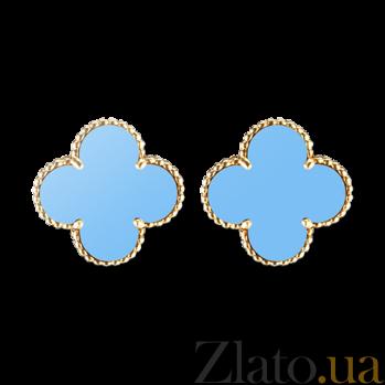 Бирюзовые серьги в желтом золоте Alhambra E-VCA-Algamra-E-turquoise