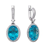 Серебряные серьги Лили с голубым кварцем