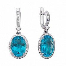 Серебряные серьги-подвески Лили с голубым кварцем и цирконием
