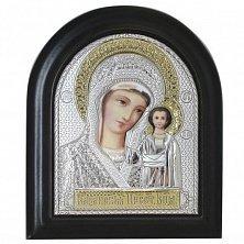 Икона на деревянной основе Казанская с позолотой и эмалью, 11х13