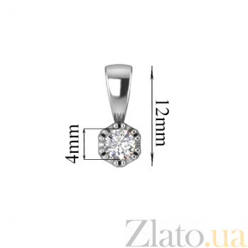 Золотой подвес в белом цвете с бриллиантом Пегас 000030754