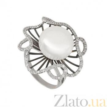 Кольцо из белого золота Восторг с жемчужиной и фианитами VLT--ТТ1167