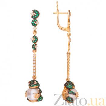 Золотые серьги с жемчугом и цирконием Марсела VLT--ТТ2509