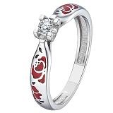 Кольцо из белого золота с бриллиантом Красные маки
