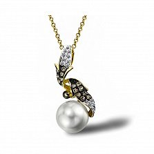 Кулон из желтого золота Ребекка с бриллиантами и жемчугом