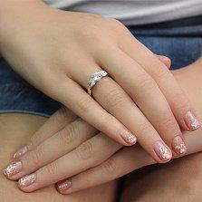 Золотое кольцо с цирконием Ева
