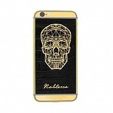 Apple IPhone XS Noblesse GOLD PLATED SKULL в черной коже и изображением черепа из золота
