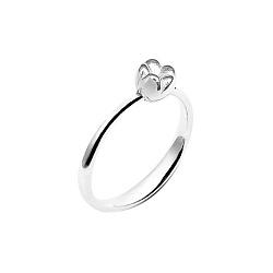 Серебряное кольцо на верхнюю фалангу Нежный тюльпан с подвижной бусиной-цветочком