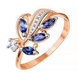 Серебряное кольцо с синим и белым цирконием, позолотой 000028446