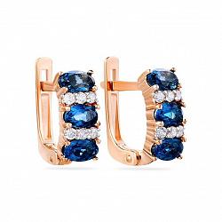 Золотые серьги Владлена с синими топазами и белыми фианитами
