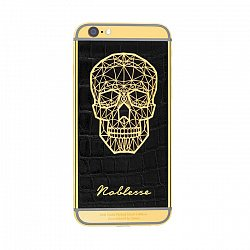 Apple IPhone XS Noblesse GOLD PLATED SKULL в черной коже и изображением черепа из золота 000118850
