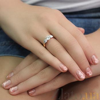 Золотое кольцо с цирконием Ева HUF--80498