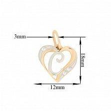 Золотой кулон-сердце Буква С в комбинированном цвете с фианитами