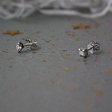Серьги-пуссеты из белого золота Кайра с бриллиантами