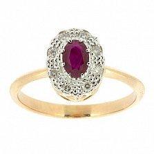 Кольцо из красного золота с рубином и бриллиантами Габриэлла