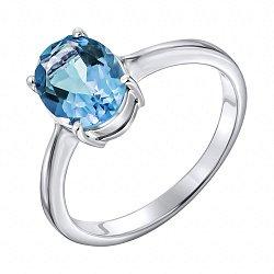 Серебряное кольцо с темно-голубым топазом 000125024