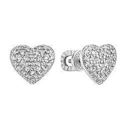 Серебряные серьги-пуссеты с фианитами 000106915