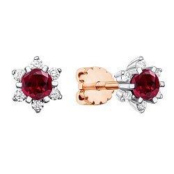 Золотые серьги в комбинированном цвете с рубинами и бриллиантами 000138839