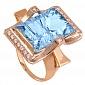 Золотое кольцо с голубым топазом и фианитами Сан-Франциско 000024446