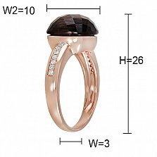 Кольцо Изольда из красного золота с бриллиантами и раухтопазом