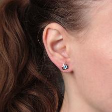 Серебряные серьги Айла с голубым кварцем и фианитами