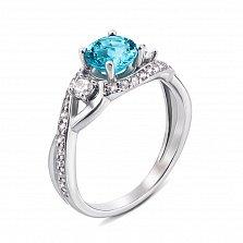 Серебряное кольцо с топазом и фианитами 000127328