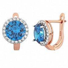 Позолоченные серебряные серьги Рашель с фианитами цвета лондон топаза