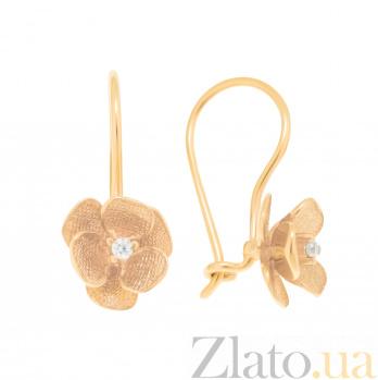 Золотые серьги Метиола с цветочками и кристаллами циркония 000096972