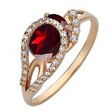 Золотое кольцо Дианис с гранатом и фианитами