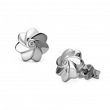 Серебряные серьги-пуссеты Флориана с бриллиантами