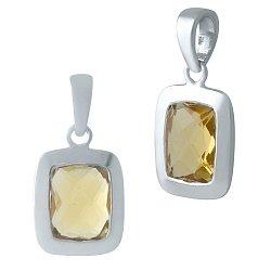 Серебряная подвеска с завальцованным синтезированным цитрином 000105598