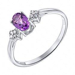 Серебряное кольцо с аметистом и фианитами 000135983