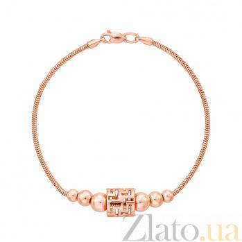 Золотой браслет в красном цвете 000131613