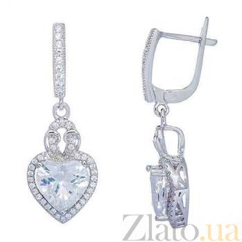 Серьги-подвески серебряные с цирконием Сердца AQA--HYE12080227