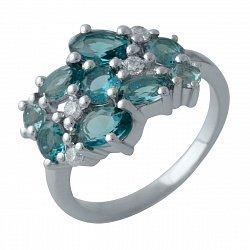 Серебряное кольцо с топазами лондон блю, фианитами и родированием 000128310