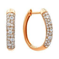 Серьги-конго из красного золота с бриллиантами 000139501