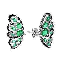Серебряные серьги-пуссеты с зелеными и черными фианитами 000121396