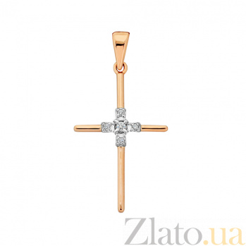 Золотой крестик с бриллиантами Благословение VLA--33860