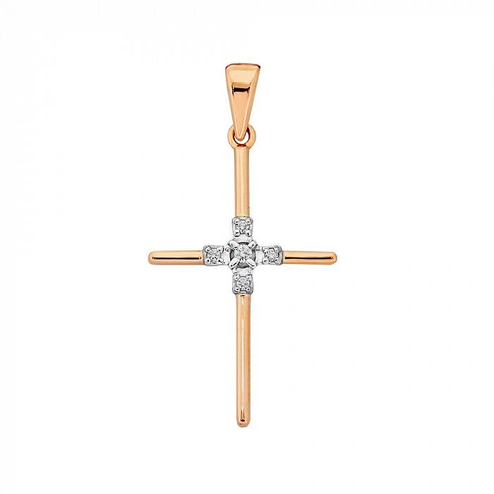 Золотой крестик Благословение в комбинированном цвете с бриллиантами VLA--33860