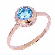 Кольцо в красном золоте Нежность с голубым топазом и фианитами