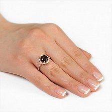 Золотое кольцо София с раухтопазом и фианитами