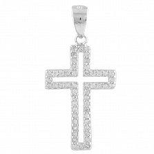 Серебряный крестик Контурный с кристаллами циркония