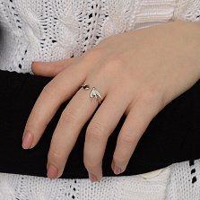 Серебряное разомкнутое кольцо Ласточкина любовь с сердцем и птицей в фианитах