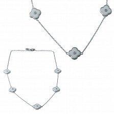 Серебряное колье Элеонора с белой керамикой и фианитами