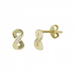 Золотые серьги-пуссеты с фианитами Бесконечность